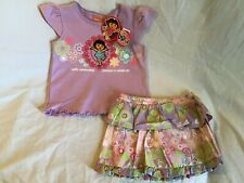 DORA THE EXPLORER Girl's 2 Piece Embroidered Purple Floral Skort Outfit 3T *NWT*