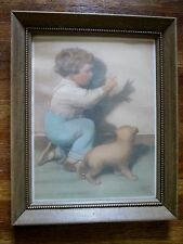"""vintage BESSIE PEASE GUTMANN Framed Print """"Oh, Oh a Bunny"""" BOY DOG SHADOW PUPPET"""