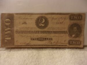 Authentic Confederate States America $2 Dollars Note Currency 1863 Rarity 6