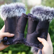 New Rabbit Fur Fingerless Texting Gloves Purple Color
