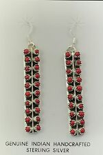 Authentic Native American Navajo Indian Jewelry Long Coral Earrings.