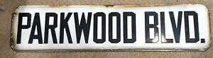 "Antique Parkwood Blvd New York Porcelain Street Sign White Black - One Sided 24"""