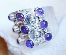 Handarbeit Silberring Amethyst Lila 54 Breit Bandring Wrap Modern Ring Silber