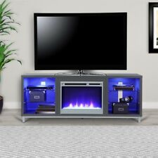 Modern Fireplace TV Stand Grey Console Media Entertainment Stand Up To 70 Inch
