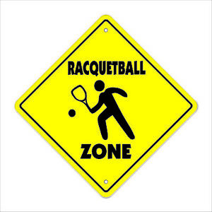 Racquetball Crossing Decal Zone Xing sport game gag player club instructor