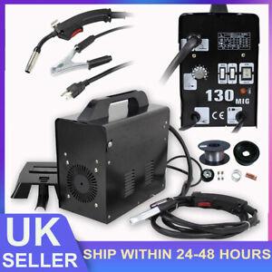 Gasless MIG Welder 130 Amp Non Live Torch Flux No Gas Welding Machine + Mask UK