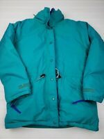 Cabela's Goretex goose down vintage coat snow winter women's medium teal blue HU