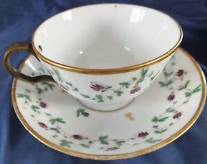 Rue Thiroux Leboef Parisian Porcelain Cup & Saucer c.1780