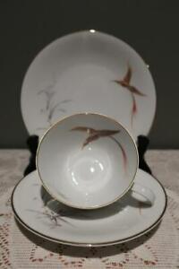 Vintage Heinrich Bone China Trio - Bird Of Paradise - Germany - High Tea - Vgc