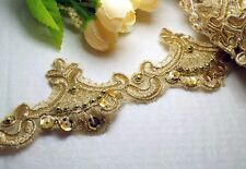 """2 Yards 2 3/8"""" (35mm) Beautiful Gold Embroidery Pearl/Sequin Venise Lace Trim"""