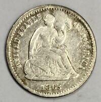 1863-S Liberty Seated Half Dime 5c Very Good+ / Rare Date (JR-2)