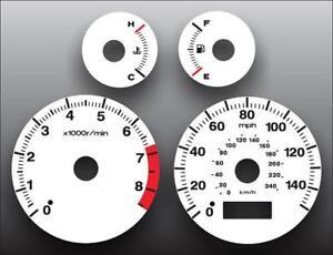 2001-2002 Honda Civic EX Manual Dash Instrument Cluster White Face Gauges
