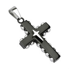 Black IP Bolted Cross with Star Cross Stainless Steel Pendant P78