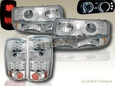2000-2006 TAHOE SABURBAN HALO PROJECTOR HEADLIGHTS + BUMPER + LED TAIL LIGHTS