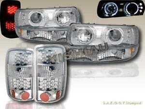 2000-2006 TAHOE SABURBAN HALO PROJECTOR HEADLIGHTS + BUMPER + LED TAIL LIGHTS
