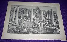 1899 Antique Print Hamitic Ruins at Djama Sidi Okba Drawn by H Saladin
