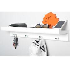 Wall Mounted Organiser Shelf with 4 Key / Coat Hooks - White ST12114