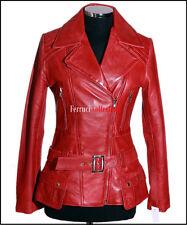 Alyssa Ladies Military Leather Jacket Red Womens Retro Soft Lambskin Jacket