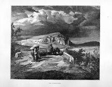 Stampa antica CAMPAGNA di ROMA lungo la via Flaminia 1877 Old print Rome