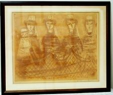Etienne Ret Etching Four Women and Young Girl
