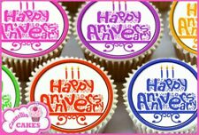 COLOURFUL ANNIVERSARY MIXED EDIBLE CUPCAKE TOPPERS X24 PREMIUM RICE PAPER 8279