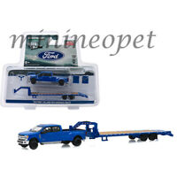 GREENLIGHT 51307 HITCH & TOW 2019 FORD F-350 DUALLY  GOOSENECK TRAILER 1/64 BLUE