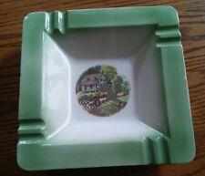 "024 Vintage Porcelain Currier & Ives Ashtray American Homestead Summer 8.5x8.5"""