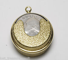 Vintage 1970's Brass Metal Quarter Holder Dispenser Pendant Jewelry