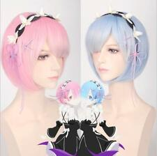 Ram Rem Wig Headdress Re:Life In A Different World From Zero Cosplay Costume New