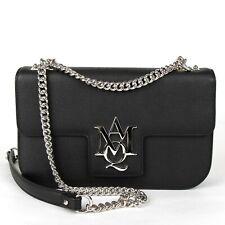 $1695 Alexander McQueen Black Leather Flap Chain Crossbody Bag 439445 1000