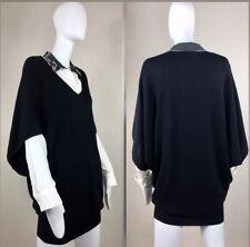 Flavio Castellani Dolman Cape Sleeve Black Wool Silk Sweater Dress IT 42/M-L