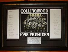 1958 Collingwood signed Framed Team photo 20 signatures Magpies Premiership CoA