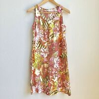 J Jill 100% Linen Floral Tropical Print Sheath Dress Size XS EUC
