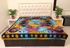 King Size Cotton Flat Bed Sheet Sun Moon Tie Dyed Bedspread Bedding Throw Dorm