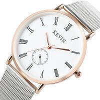 Fashion Silver Stainless Steel Mesh Band Simple Quartz Wrist Watch Womens Q10