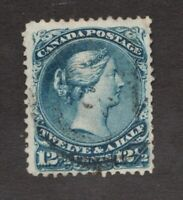 #28 - Canada - 1868 - 12½  Cent - Used  - F - superfleas