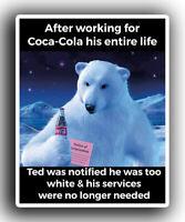 Coca-Cola Memo Polar Bear White  Decal 4x5 political Coke Sticker