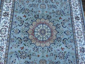 New Gray Wool & Silk Finest 5'x8' Handmade 300 KPSI Nain Oriental Rug