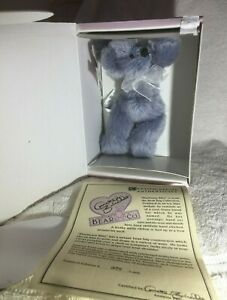 "Annette Funicello BLUEBEARY BLITZ  6"" Mohair Bear From Bean Bag Series MIB W/COA"