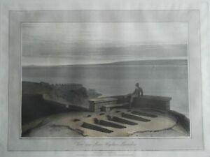 VIEW LOWER HEYSHAM, LANCASHIRE. ORIGINAL UNFRAMED WILLIAM DANIELL AQUATINT. 1816