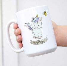 Cute Unicorn Coffee Mug Ceramic Travel Mug with Lid Animal Mug Gift Blue Cup Mug
