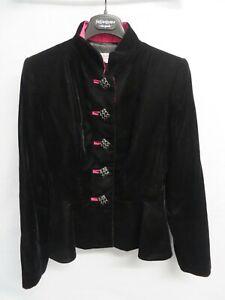 Yves Saint Laurent Rive Gauche black velvet short jacket with pink trim- Size 42