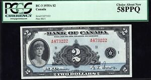 1935 Bank of Canada $2 in almost Uncirculated PCGS AU58 PPQ (BC-3)