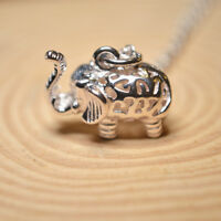 """Shiny Polish Solid 925 Sterling Silver 3D Hollow Elephant Pendant Necklace 17.7"""""""