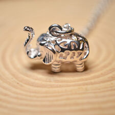 Shiny Polish Solid 925 Sterling Silver 3D Hollow Elephant Pendant Necklace 17.7""