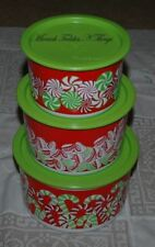 TUPPERWARE CHRISTMAS CANDY CANES CANISTER SET OF THREE STACKING  GREEN RED GIFTS