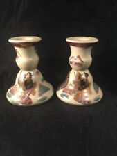 More details for vintage japanese candle sticks hand painted decorated with figures crackle glaze