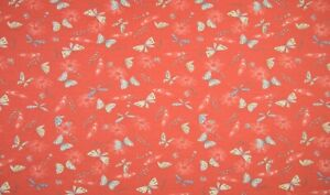 Baumwolle Jersey Stoff, Quality Textiles, Schmetterlinge, Helles Orange, 147cm