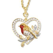 Kristall Rotkehlchen Vogel Anhänger Plattiert Im Reich Glänzend Diamant eNwrg