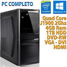 PC COMPUTER DESKTOP NUOVO WINDOWS 10 ASSEMBLATO INTEL QUAD CORE RAM 4GB HDD 1TB